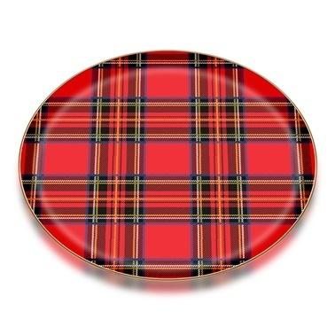 Glore Nihavent Ekose Kırmızı Parlak Altın Cam Tepsi 35X35 Cm Kırmızı